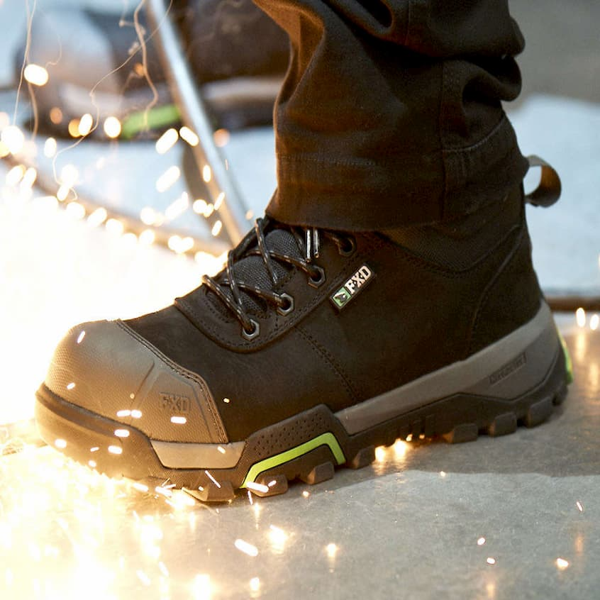 man wearing fxd safety boots