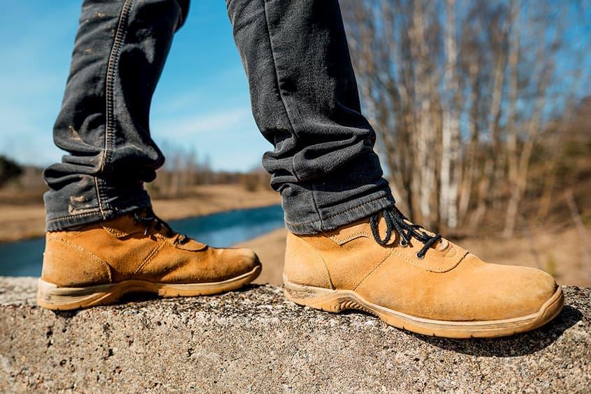 man wearing work boots
