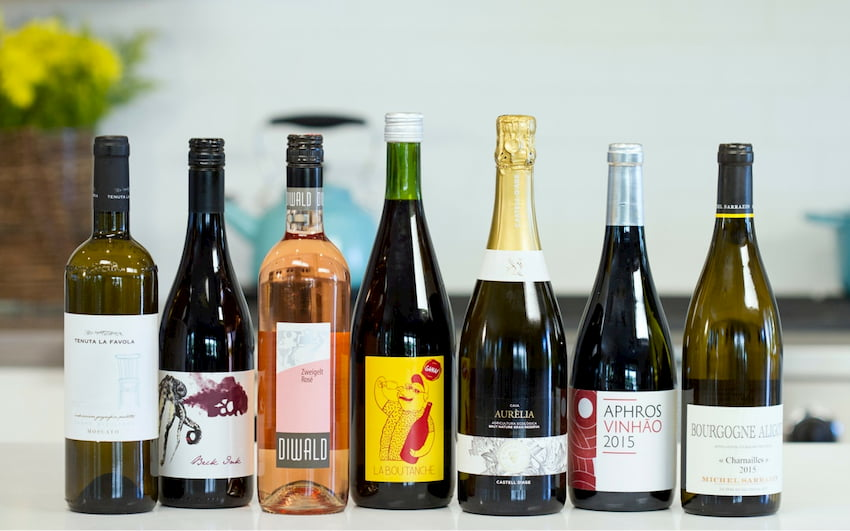 different brands of natural wines