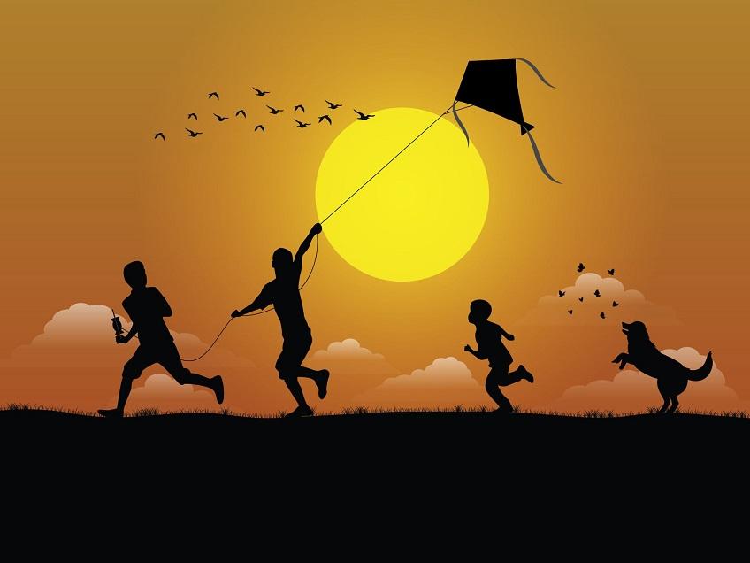 kids flying kites