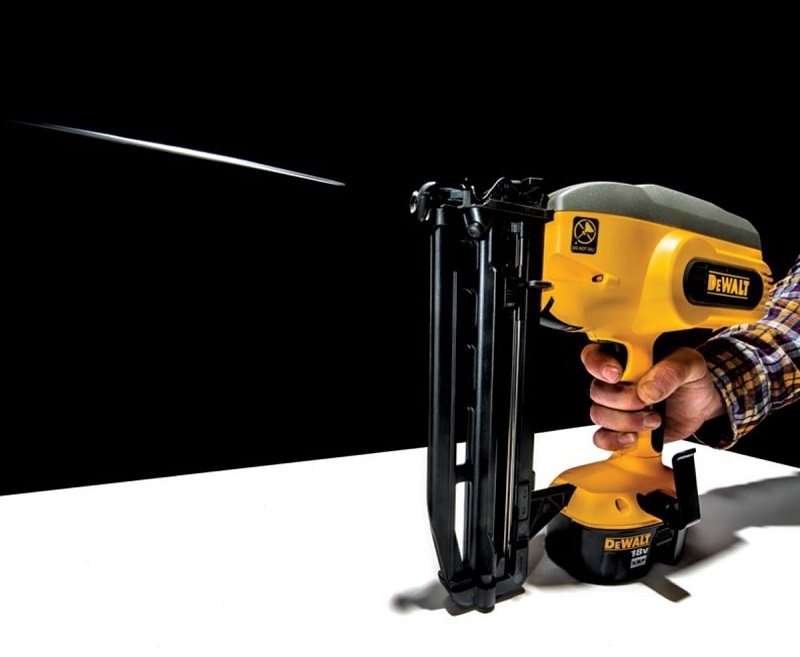 Close up picture of battery nail gun