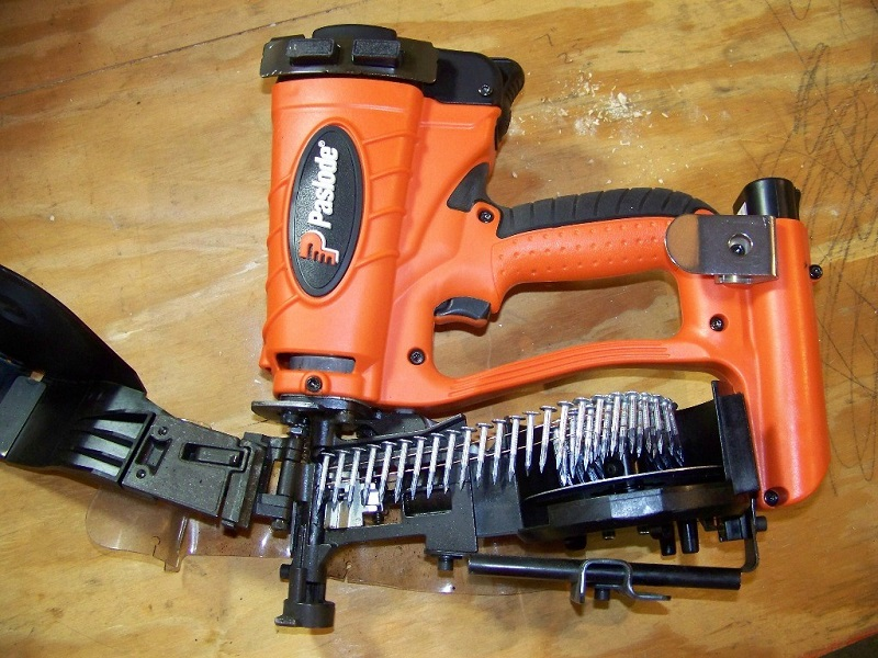 Close up picture of gas nail gun