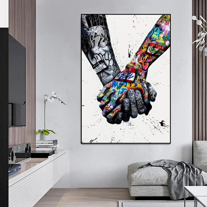 Art prints in contemporary decor style