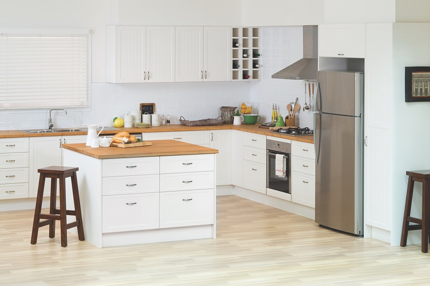 picture of a modern kitchen with white flat pack cabinets