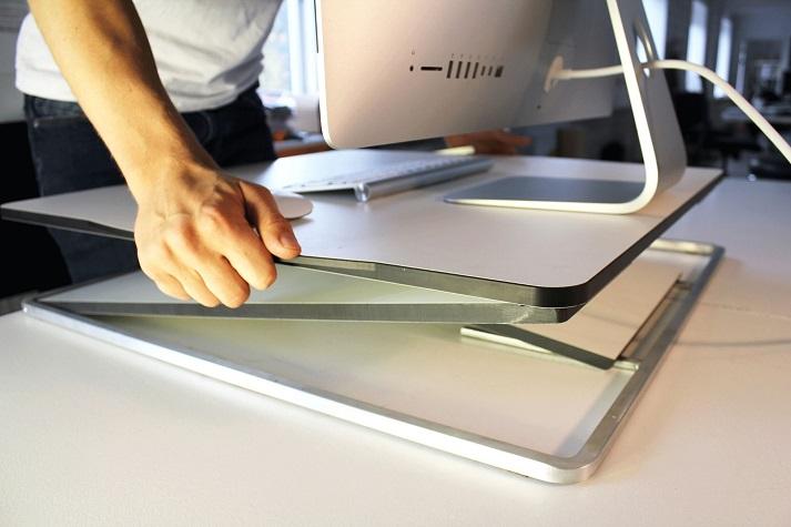 Close-up of portable adjustable desk