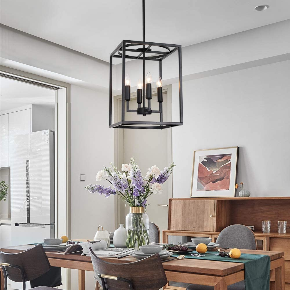 dining room with industrial pendant cage light