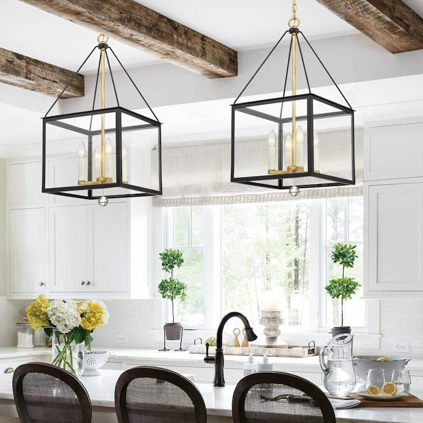 kitchen with vintage pendant cage light