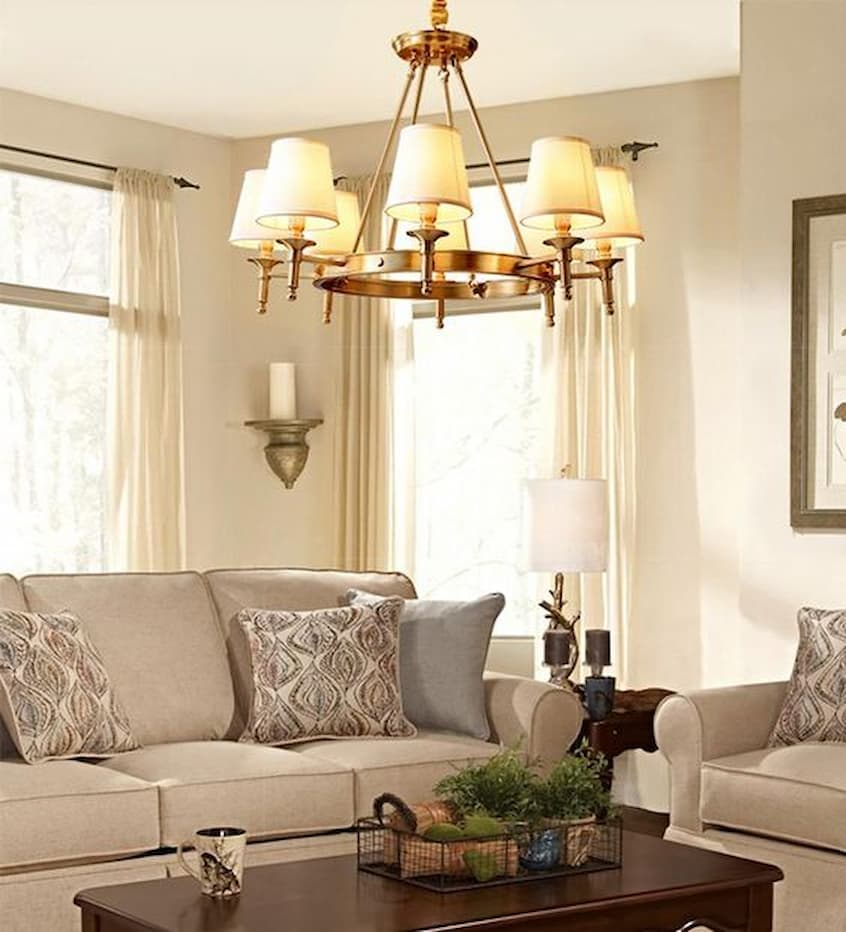 chandelier with linen lampshades
