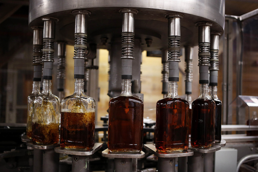 filling up the bourbon