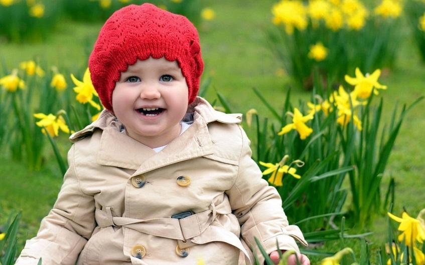 Baby girl in cozy coat