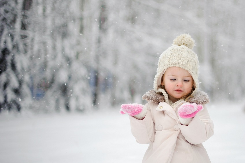 Little girl dressed in coat
